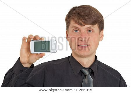A Guy Shows New Mobile Phone