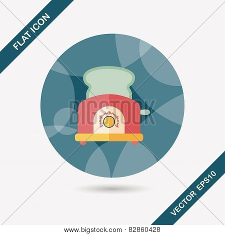 Kitchenware Toaster Flat Icon With Long Shadow,eps10