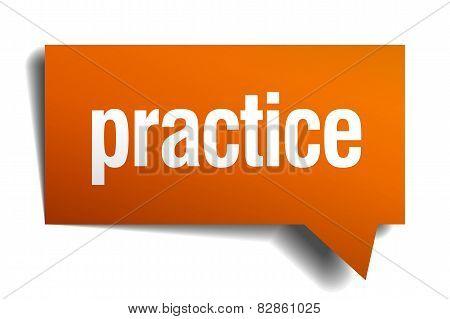 Practice Orange Speech Bubble Isolated On White
