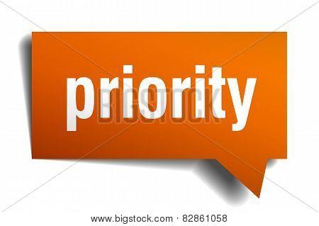 Priority Orange Speech Bubble Isolated On White