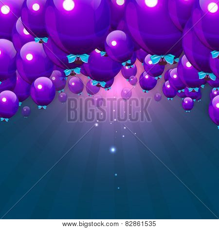 Party Purple Balloons Background for your Text. Stock Vector Illustration.