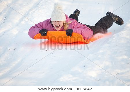 Girl Having Fun In Snow