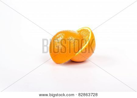 two offset half ripe orange, isolated on white background
