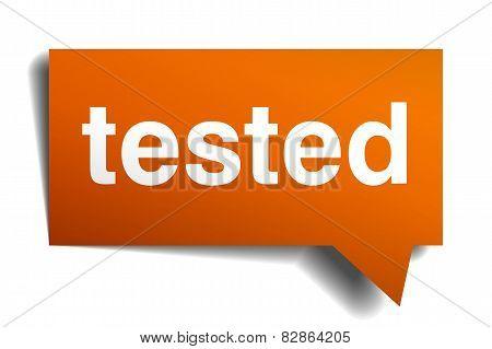 Tested Orange Speech Bubble Isolated On White