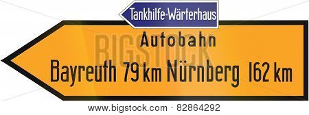 Direction Sign To Bayreuth Autobahn