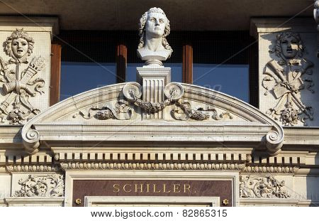 VIENNA, AUSTRIA - OCTOBER 10: Burgtheater (Court Theatre, 1888, designed by Gottfried Semper and Karl Freiherr von Hasenauer) is Austrian National Theatre. Vienna, Austria on October 10, 2014.