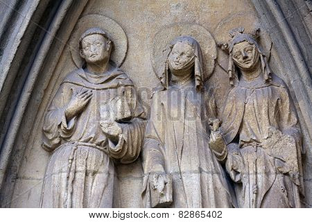 VIENNA, AUSTRIA - OCTOBER 11: Statue of Saints, facade of Minoriten kirche in Vienna, Austria on October 11, 2014.