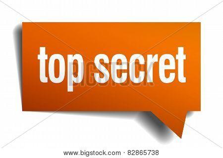 Top Secret Orange Speech Bubble Isolated On White