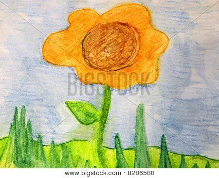 Yellow Orange Flower Watercolor
