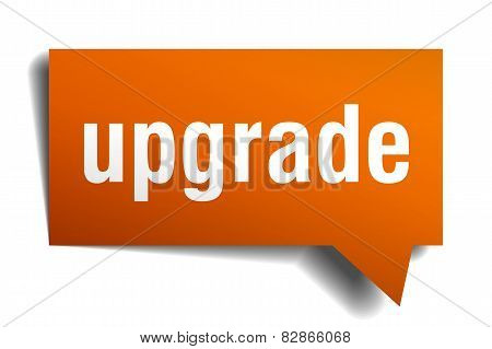 Upgrade Orange Speech Bubble Isolated On White