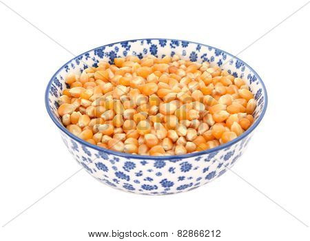 Popcorn Maize In A Blue And White China Bowl