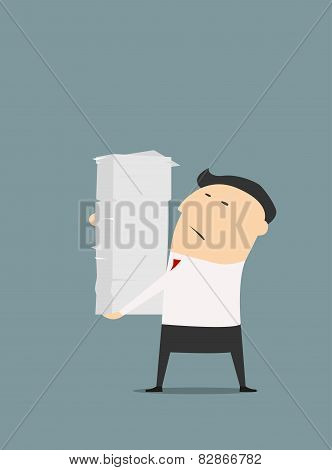 Cartooned businessman with stack of papers
