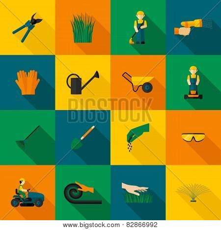 Lawn Man Icon Flat