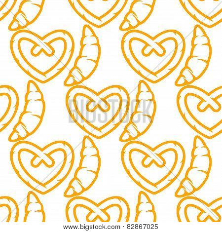 French croissants and german pretzel seamless pattern