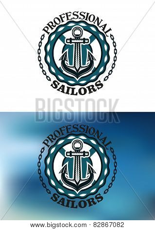 Sailor label or badge with anchor and lifebuoy
