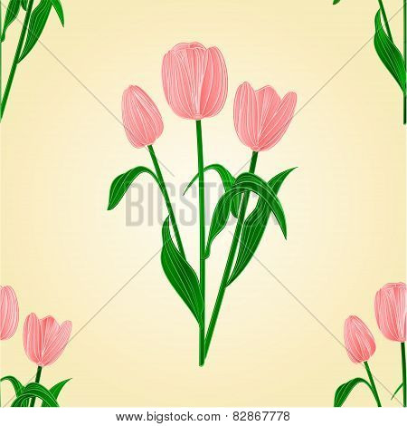 Seamless Texture Tulips Spring Background Vector