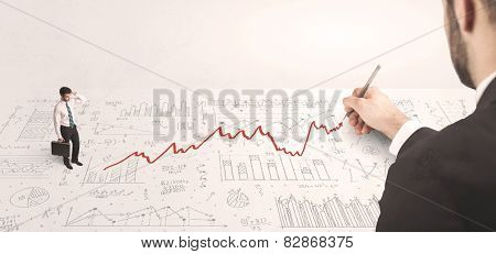 Business man looking at red arrow drawn by a hand concept on background