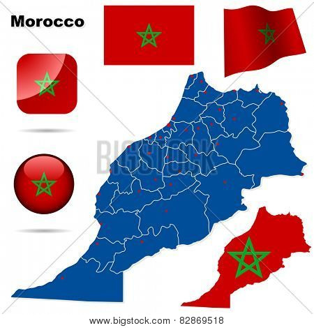 Morocco set. Detailed country shape with region borders, flags and icons isolated on white background.