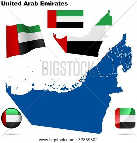 United Arab Emirates set. Detailed country shape with region borders, flags and icons isolated on white background.