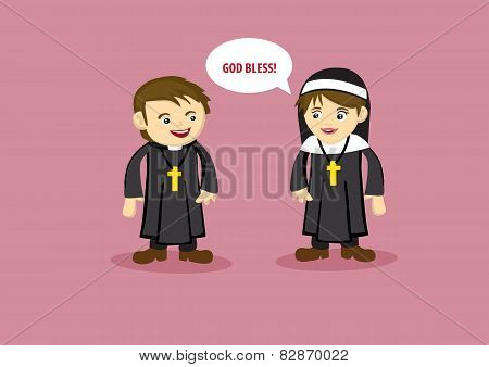 Cute Nun Says God Bless To Priest Cartoon Style Vector Illustration