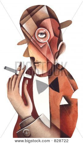 The person in a bowler with a cigarette. Illustration by Eugene Ivanov.