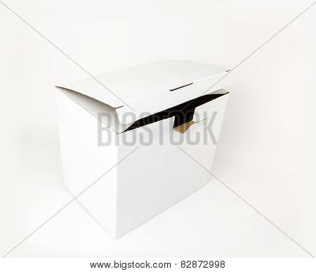 Slightly Opened White Carton Box Isolated On White Background