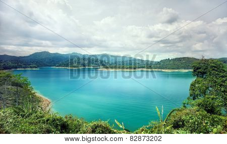 Beautiful blue water pond. Travelling in Krabi Province, Thailand