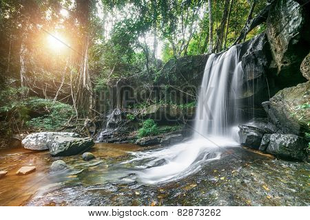 Kbal Spean in Siem Reap, Cambodia. Beautiful nature lsndscape with waterfall in jungles.