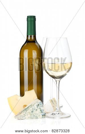 White wine and cheese. Isolated on white background