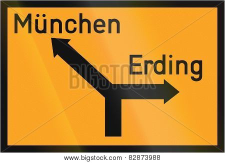 Direction Sign To Munich And Erding 1936
