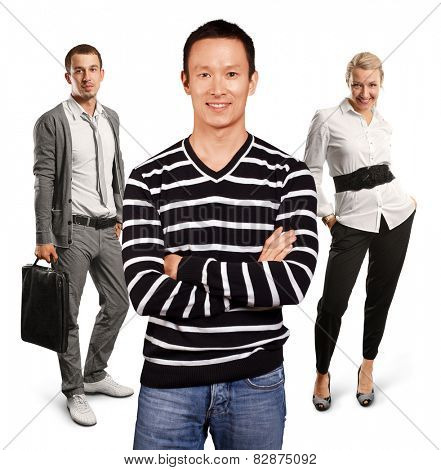 Teamwork concept. Asian man in striped pullovert, looking on camera, with folded hands