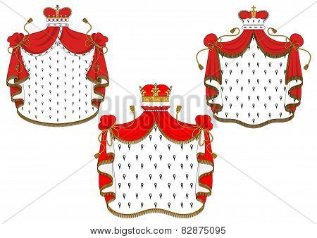 Royal red velvet mantels with golden crowns