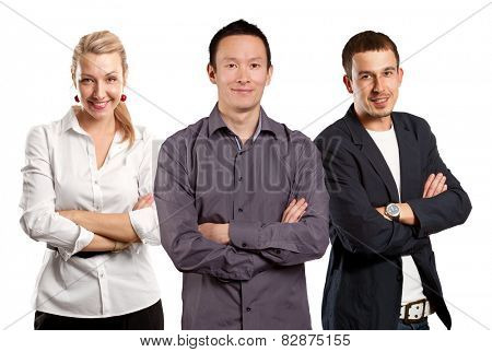 Teamwork concept. Asian man smiling, looking on camera, with folded hands