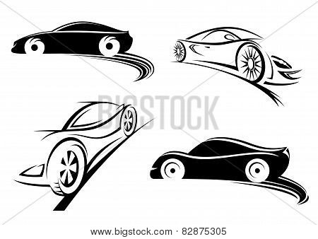 Sports racing car black silhouettes