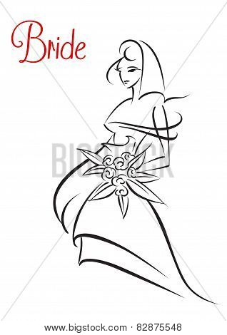 Outline sketch silhouette of young bride
