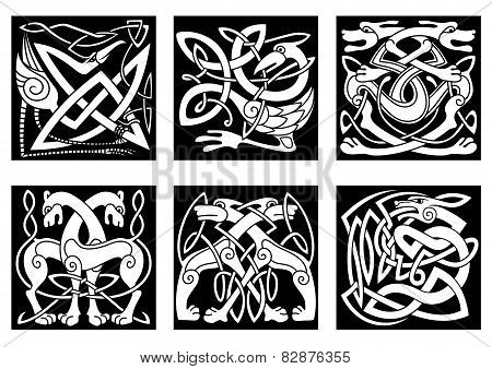 Celtic animals decorated irish ornament