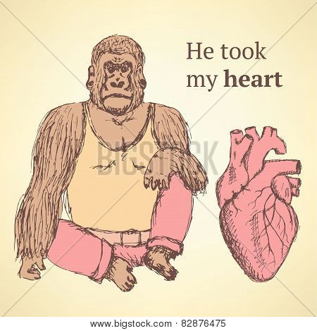 Sketch Fancy Gorilla With Heart In Vintage Style