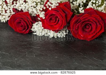Bouquet With Bright Red Roses