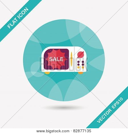 Shopping Slae Microwaves Oven Flat Icon With Long Shadow,eps10