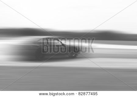 Drift Car Motion Blur On Vintage Black And White