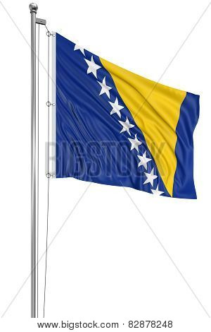 3D Bosnia and Herzegovina flag (clipping path included)
