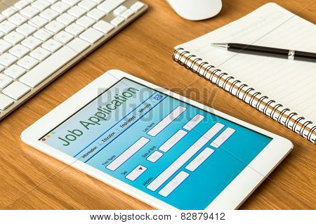 Digital Tablet Pc Showing Online Job Application Form