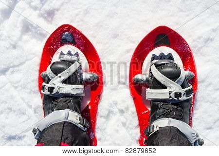 Snowshoeing - woman trekking in winter mountains.
