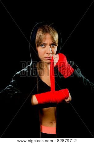 Young Sexy Dangerous Boxing Girl Wrapping Hands And Wrists Female Combat Boxer