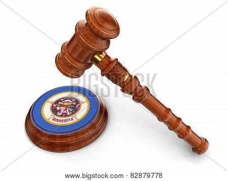 Wooden Mallet and flag Of Minnesota (clipping path included)