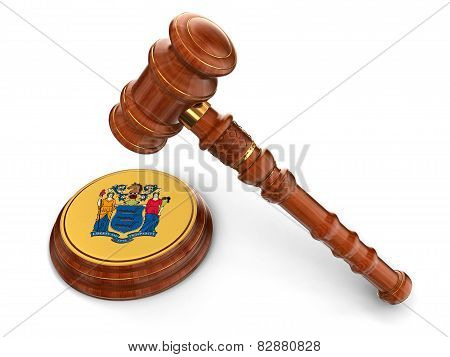 Wooden Mallet and flag Of New Jersey (clipping path included)