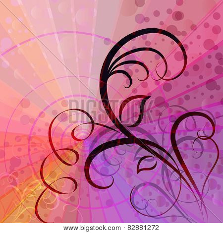 Colorful rays background with floral element.