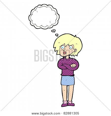 cartoon woman wit crossed arms with thought bubble