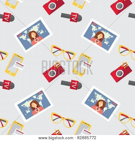 Seamless Pattern Of Of Flat Vector Journalism