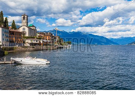 Small Town Brissago In Ticino, Italy